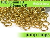 18g 3.5 mm ID 5.6 mm OD NuGold brass jump rings -- 18g3.50 open jumprings jewelry findings supplies links