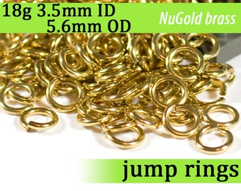 18g 3.5 mm ID 5.6 mm OD NuGold brass jump rings -- 18g3.50 open jumprings