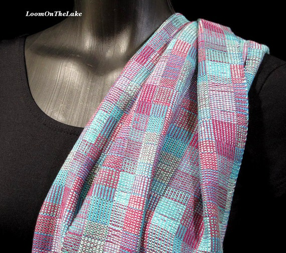 https://www.etsy.com/listing/169101422/hand-woven-scarf-plum-and-aqua-handwoven