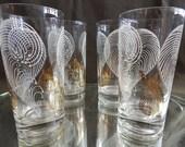 Vintage glassware set of for vintage glasses gold and white leaf markings