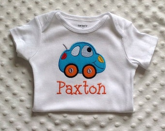 Baby Boy  Personalized  Bodysuit - Smiling Automobile