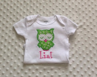 Baby Girl Personalized Bodysuit with appliqued sleeping owl