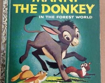 Vintage Little Golden Book Manni. The Donkey In The Forest World Walt Disney B Edition 1959