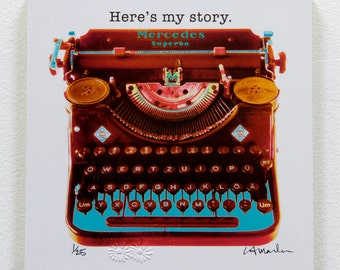 "Typewriter Wood block  - ""Here is my story"" - ready to hang"
