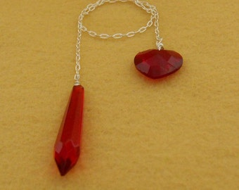 Dowsing Pendulum Sterling Silver Chain Red Vintage Glass  (PE-114)