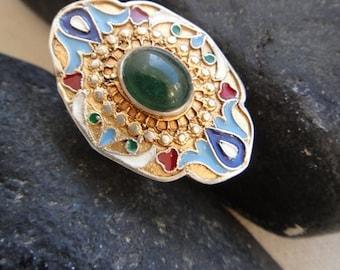 shiraz ring russian historic imperial inspired sterling enamel jade ring