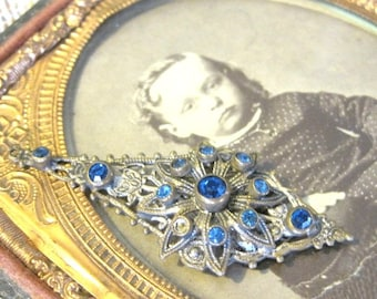 Antique Art Deco Pendant Gorgeous Blue Glass Sapphired Filligreed Pendant
