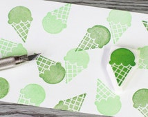 ice cream stamp, green tea ice cream, summer stamp, dessert rubbers tamp, ice cream cone, hand carved stamp, kids food stamp, vacation stamp