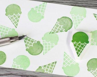 ice cream stamp, green tea ice cream, summer stamp, dessert rubbers tamp, ice cream cone, hand carved stamp, kids food stamp, vacation stamp