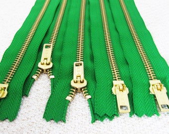 NEW: 10inch - Jolly Green Metal Zipper - Gold Teeth - 5pcs