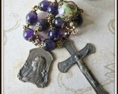 Mary with Lilies Single Decade Pocket Rosary in Amethyst & Lampwork Wire Wrapped in Bronze