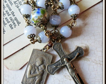 Bronze Holy Mother & Child Blue Lace Agate Single Decade Pocket Rosary Wire Wrapped, Unbreakable Heirloom Rosary