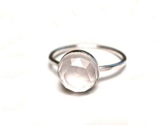 Clear Quartz Stacking Ring in Size 7 Only- CLOSEOUT