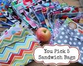 Reusable Sandwich Bag Bundle You PICK Set of 5 - Over 48 choices - Dishwasher safe