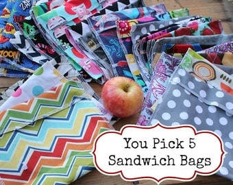 Reusable Sandwich Bag Bundle You PICK Set of 5 - Over 48 choices - Dishwasher safe