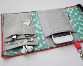 Nerd Herder gadget wallet in Ikat for iPhone 5, Android, iPhone 6, Samsung Galaxy S5, digital camera, smartphone, guitar picks