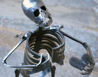 Zombie Skeleton Take My Heart Metal Sculpture