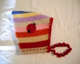 Upcycled Lambswool Ladybug Pixie Hat
