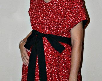 LINED Brenna Maternity Delivery Gown - Black Grey White Polka Dots on Red - Lined in Your Choice of Color - By Mommy Moxie on Etsy