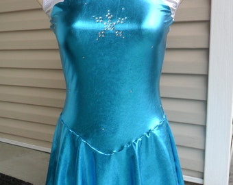 Ladies Disney Inspired Princess Elsa Figure Skating dress from Frozen with detachable cape