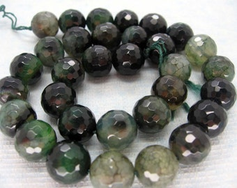 Beautiful Atrovirens Veins Agate Faceted Round Beads 12mm