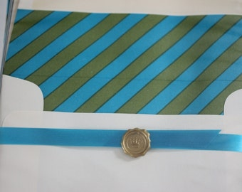 STATIONERY set by HALLMARK - vintage -STRIPES - boxed  - lined envelopes - green and blue