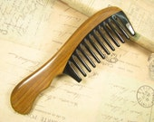 Wide Teeth Buffalo Horn and Verawood Hair Comb