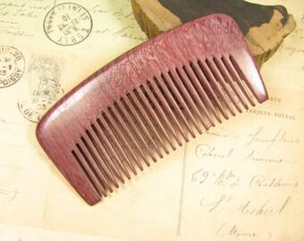 Medium Teeth Purpleheart Wood Hair Comb