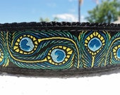 """Dog Collar, 1"""" wide Side Release buckle or, Martingale Collar, adjustable Peacock Art - see 3/4"""" listing"""