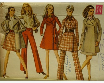 "60s Side Wrap Coat Pattern, Lined, Notched Collar, Princess Seams, Pockets, Skirt, Pants,  Simplicity No.8412 Size 9/10 Petite Bust 33"" 84cm"