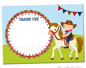 PRINTABLE Cowboy with Horse Thank You Cards (Character of your choice) #522