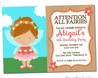 PRINTABLE Fairy Party Invitations (Character of your choice) #528