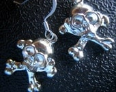 Halloween ~ Skull and Crossbone Silver Plated Charm Earrings