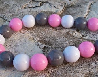 Light Pink, Gray, White Gumball Acrylic Beads Strand