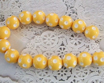 Gumball Polka Dotted Golden Yellow with White Spots Acrylic Beads Strand