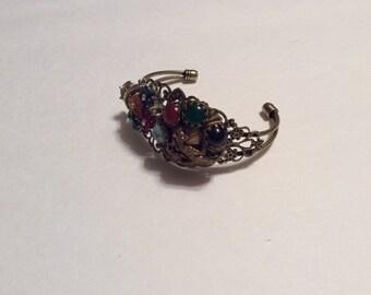 Vintage Earring/Brooch Filigree Cuff Bracelet/Free Shipping