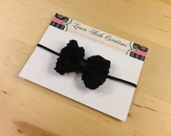 Black Mini Chiffon Rose Bow Headband - Baby Headband - Toddler Headband - Newborn Headband - Bow Headband