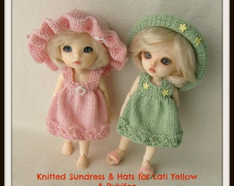 Instant Download PDF Pattern for Knitted Sundress and Hats for Lati Yellow and Pukifee
