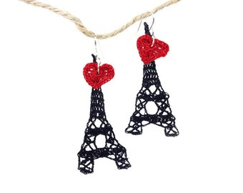 I Love Paris - Eiffel Tower Crochet Fish Hook Earring - Sterling Silver .925
