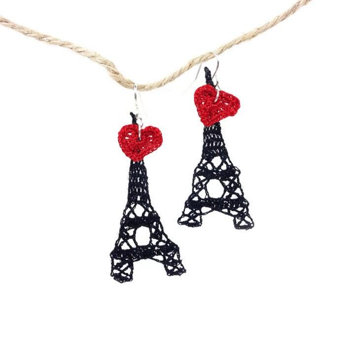 Crochet Hook Earrings: I Love Paris Eiffel Tower Crochet Fish Hook Earring