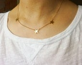 Gold Star Necklace-Star Necklace-Star Initial Necklace-Personalized Star Necklace-Multi Star Necklace-Gold Initial Necklace-Momentusny