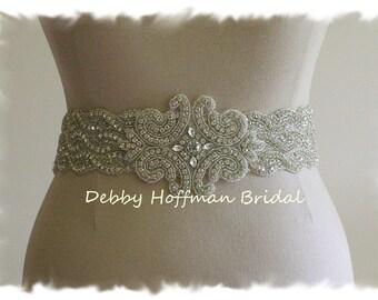 Wedding Sash, Rhinestone Crystal Bridal Belt, Wide Jeweled Wedding Dress Sash, Rhinestone Belt, Bridal Belts and Sashes, No. 1126S3-18-3050