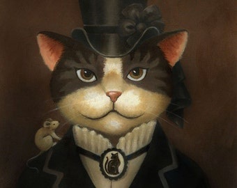 Lady Cat Portrait Print - Steampunk Cat - Cat Art - Victorian Cat - Gothic Cat - Old Fashioned - Classic -