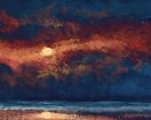 Original Handpainted ACEO Impressionistic Moonlit Daytona Beach Art by Ed McCarthy