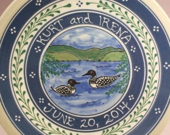 """11"""" Personalized Wedding Plate Two Loons on the Lake"""