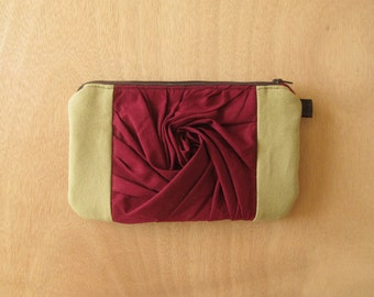 MOVING SALE!  Oakland Clutch- Tan with Ruby Red // wristlet, passport wallet, back to school, zipper pouch, bridesmaid gift, wearable art