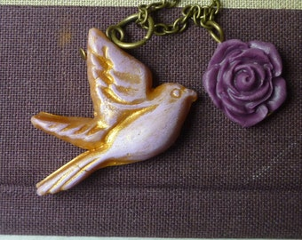 Little Bird lavender and rose Necklace - Romantic Bird and Rose