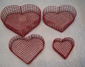 Vintage Heart Shaped Stackable Baskets, Lot of 4, Nanas Vintage Shop on Etsy