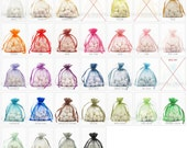 50 Organza Bags, 4x6 Inch Sheer Fabric Favor Bags, For Wedding Favors, Drawstring Jewelry Pouch- Choose Your Color Combo