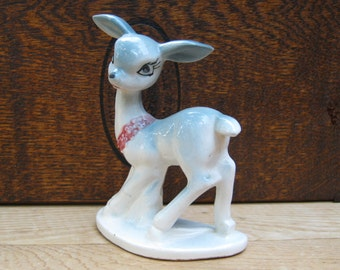 Deer Figurine - Doe Fawn - Made in Japan - Hand Decorated - Small Size - Oak Hill Vintage